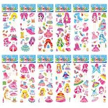 12 Sheets/set 3D Bubble Dress Up Girls Stickers Cartoon Change Clothes DIY Kawaii Stickers Education