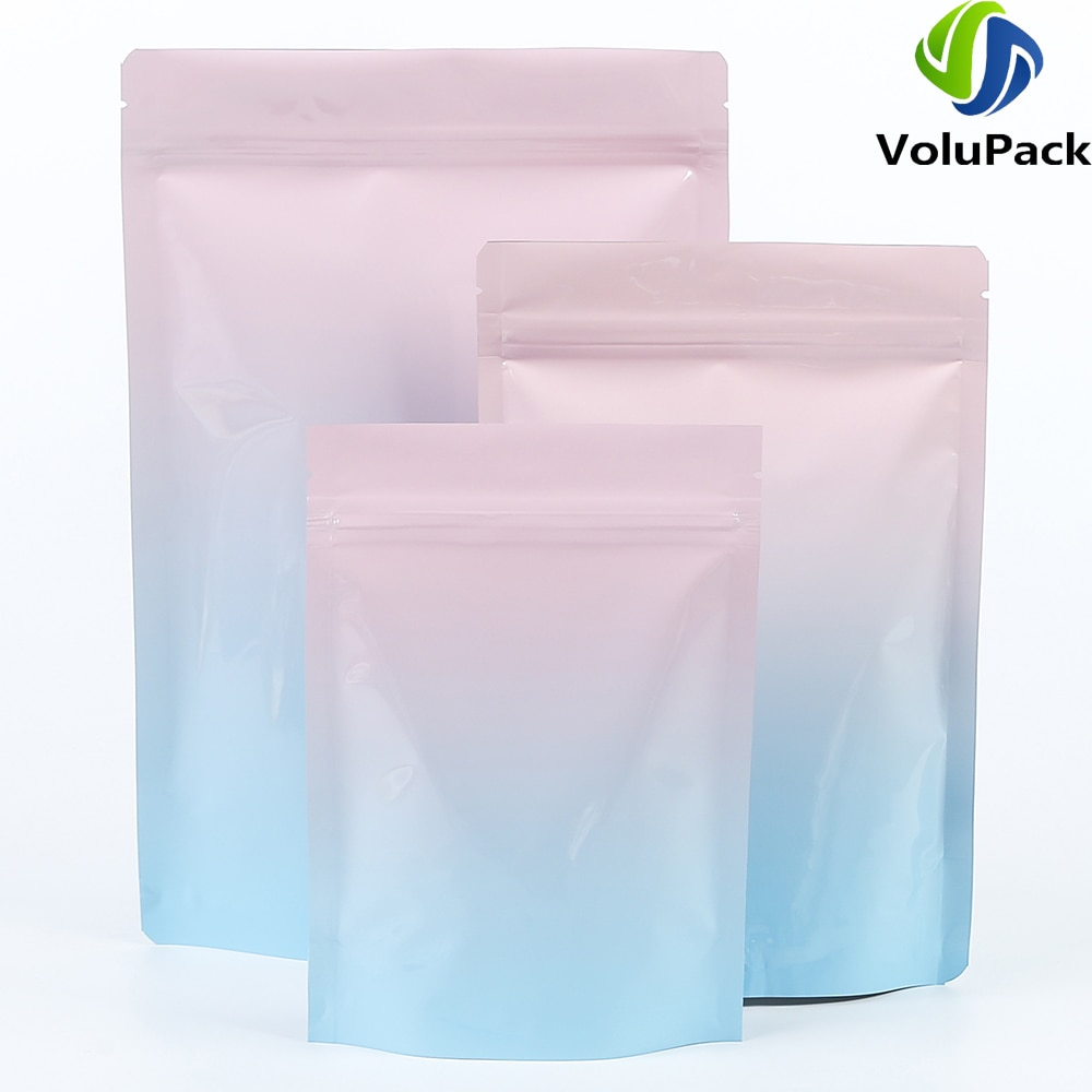 100 sacos de empacotamento eco-friendly dos pces sacos da prova do cheiro levantam-se malotes metálicos de mylar lustrosos que sonham sacos ziplock do armazenamento do unicórnio
