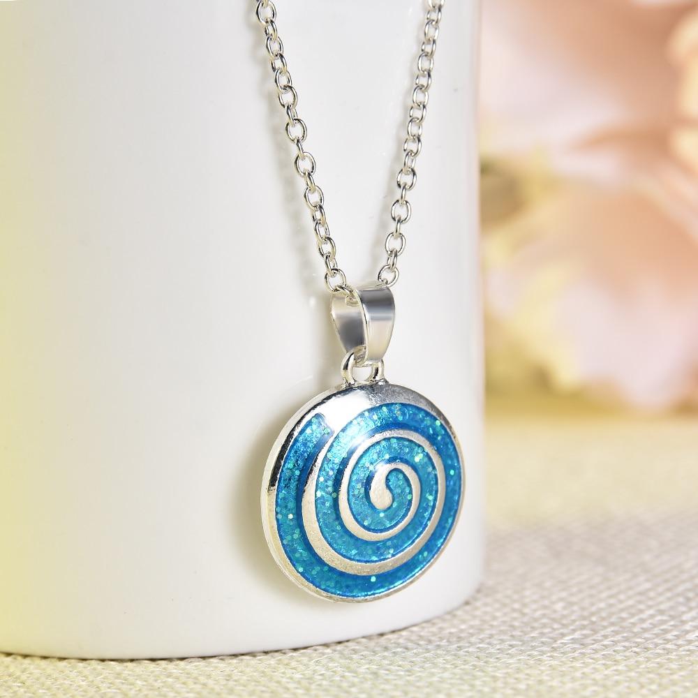 2020 nouvelle mode femme mode bijoux bleu feu opale mignon petit pendentif rond collier chaîne pour les femmes déclaration collier