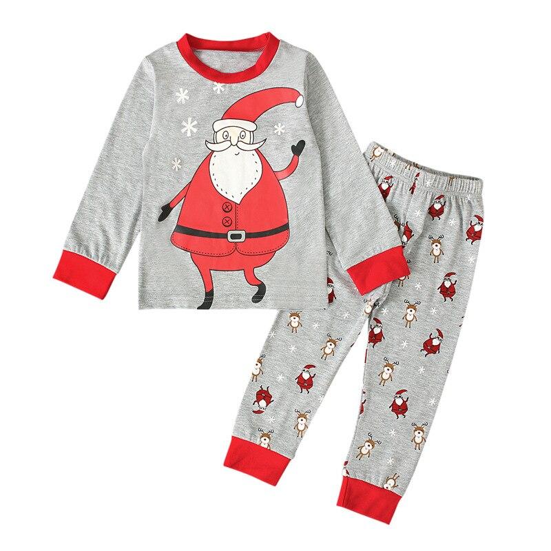 Новый 2021 осень серого цвета с принтом в виде Санты; Блузка + брюки, комплект из 2 предметов, Повседневный хлопковый Рождественский костюм для мальчиков, модная детская одежда, одежда для девочек, От 0 до 6 лет|Комплекты пижам| | АлиЭкспресс