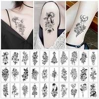 30pcsset women temporary tattoo sticker female black red rose fake tatoo body hands arm leg flowers tattos tatouage temporaire