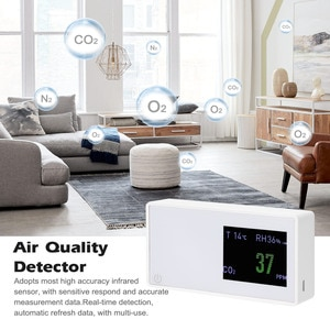 CO2 Detector Air Quality Detector Multifunctional CO2 Tester Carbon Dioxide Detector Electricity Quantity Temperature Humidity