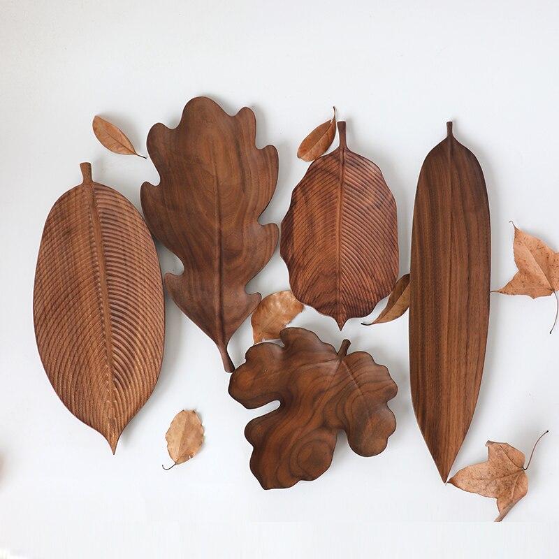 الجوز الأسود لوحة الأصلي اليدوية ورقة شكل وجبة خفيفة الجوز كعكة أطباق فاكهه سجل الإبداعية صينية الشاي جودة الخشب تخدم أدوات المائدة