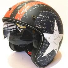 open Face Vintage Motorcycle Helmet Retro German Kask,Cafe Racer,Scooter,Cruiser,Chopper,Matte black,EPS lining,DOT approved