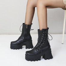 Ladies Personality Cross Tied Mid Calf Boots Spring Autumn Platform Women Shoes Zipper Super High He