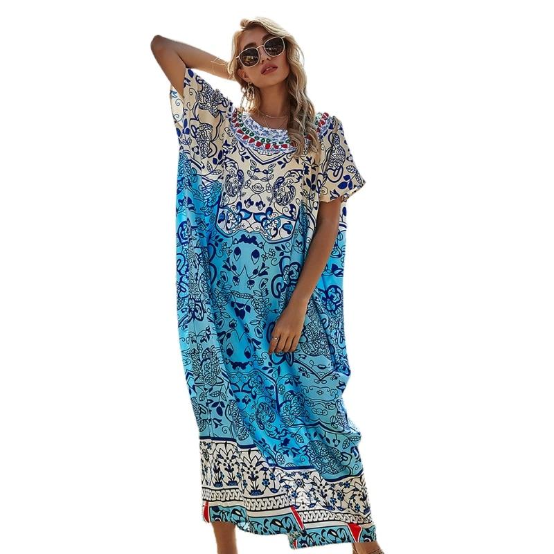 Платье-туника женское в богемном стиле, Длинное Макси-платье-кафтан с цветочным принтом и коротким рукавом «летучая мышь», с круглым вырезо...