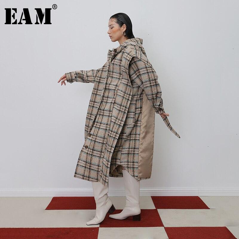 [EAM] Parkas holgadas de color caqui con corte a cuadros talla grande abrigo de lana largas nuevas Parkas de manga larga para mujer moda Primavera otoño 2020 19A-a520