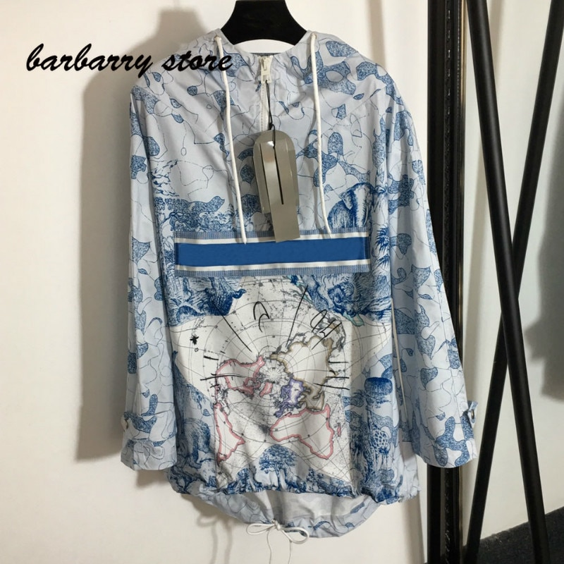 2021 luxury design world map camouflage printing fashion women's long sleeve hooded top temperament versatile loose sweater