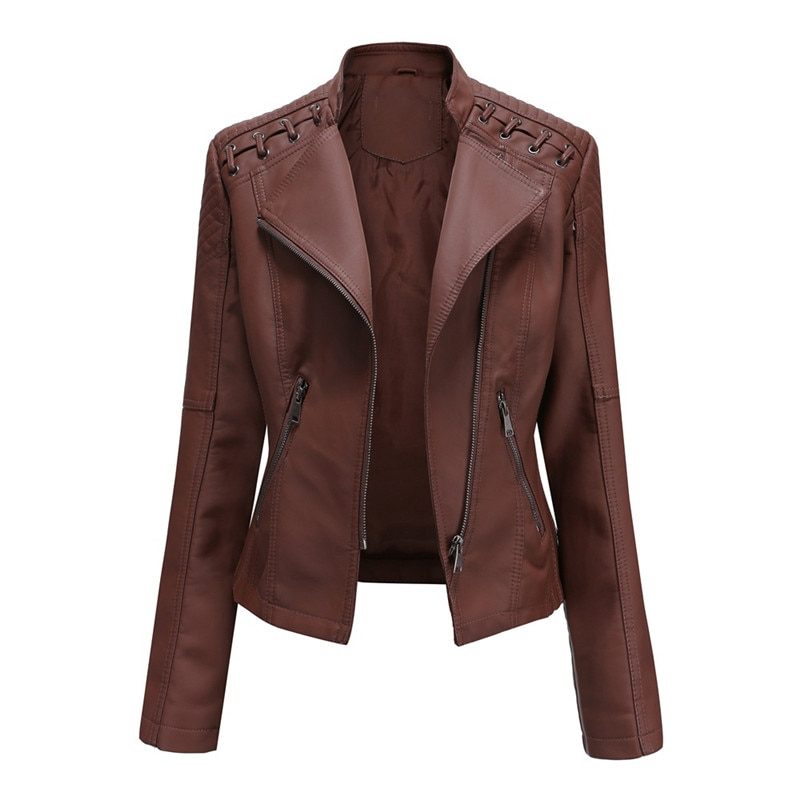 2020 The New Spring And Autumn Women's Leather Short Jacket Slim Thin Motorcycle Suit. enlarge
