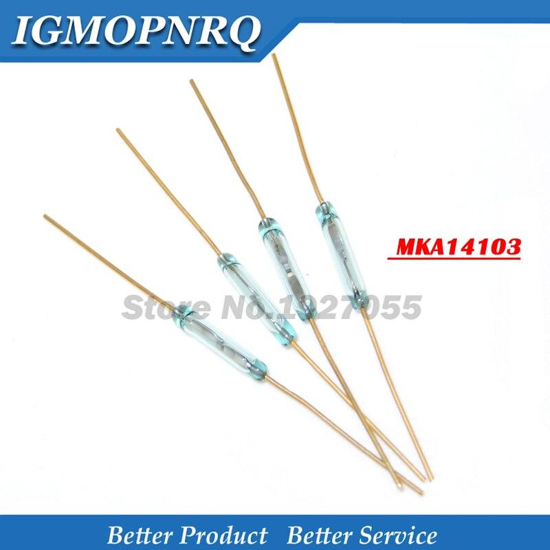 10 Uds interruptor de lámina MKA14103 2*14mm interruptor de lámina de vidrio verde interruptor de Control magnético normalmente abierto Sensor de contacto nuevo