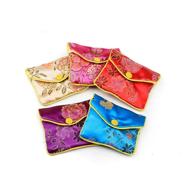 Floral Small Zipper Coin Pouch Jewelry Gift Bag Silk brocade Credit Card Holder Women Mini Wallet 6x8 8x10 10x12cm 12pcs/lot
