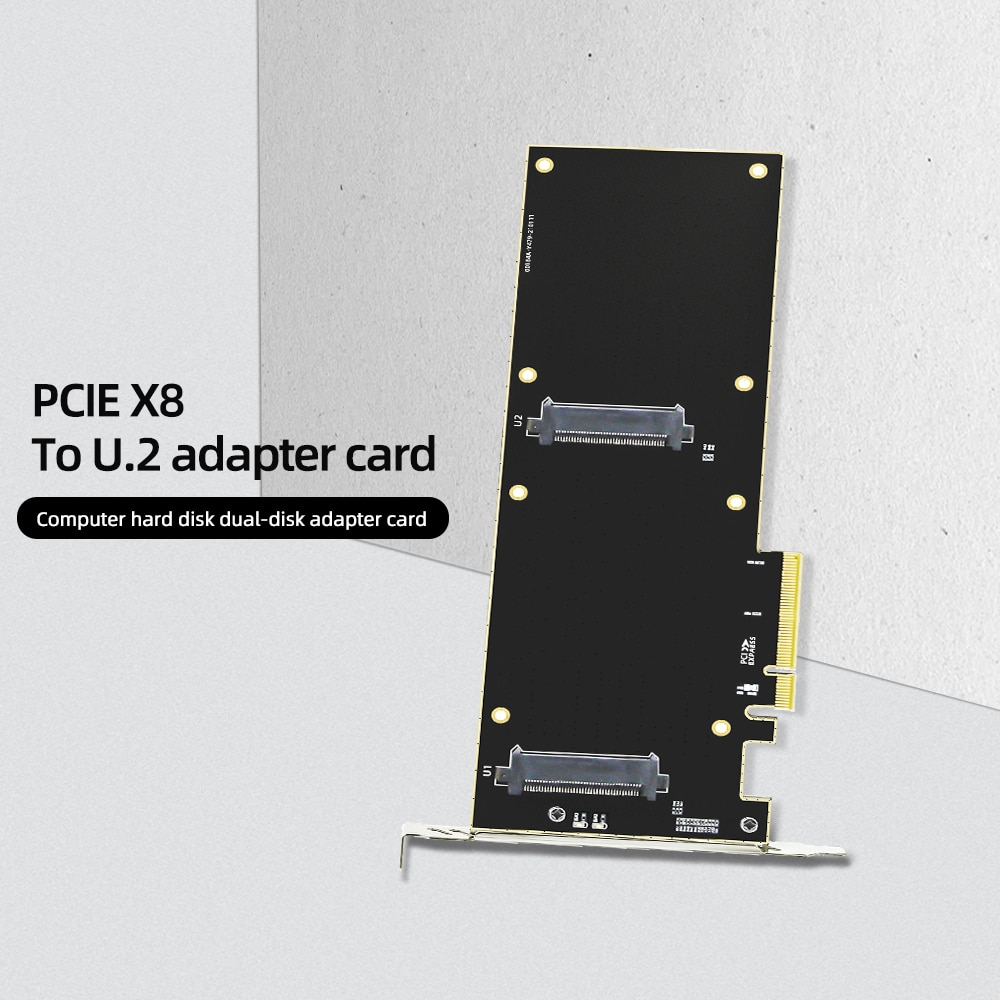 PCIE Riser Card Nvme 2.5 Ssd U.2 To PCI-e X8 X16 Adapter Interface SFF-8639 32Gbps SATA-Express Double Bay Transfer Server X99