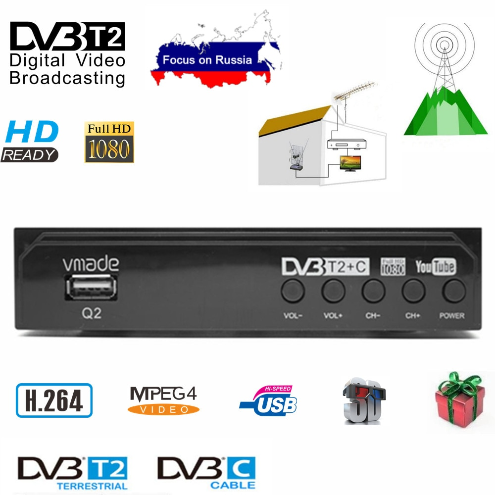 DVB-T2 TV Tuner Decoder HD 1080 WIFI TV BOX DVB-T Digital Terrestrial Receptor DVB T2 DVB-C Combo H.264 AC3 HD Audio недорого
