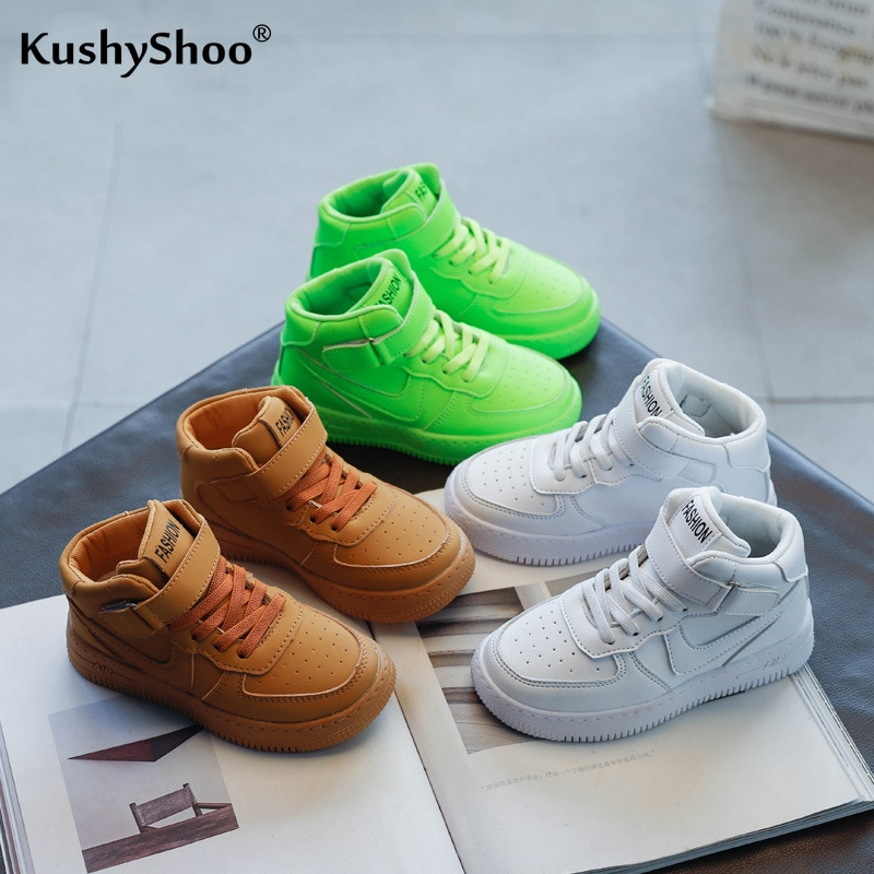 Kushyshoo Kids Shoes 2021 Spring Fashion Solid Color Hook&Loop All-match Platform Sneakers Breathable Heighten Running Shoes