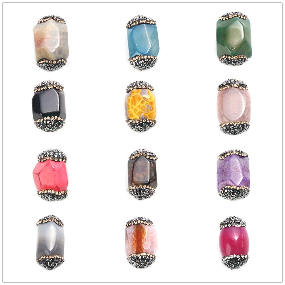 Doreen Box (Grado A) Cuentas de piedras preciosas naturales con cuentas para la fabricación de joyas diamantes de imitación 26mm x 17mm, agujero aprox. 1mm, 1 ud.