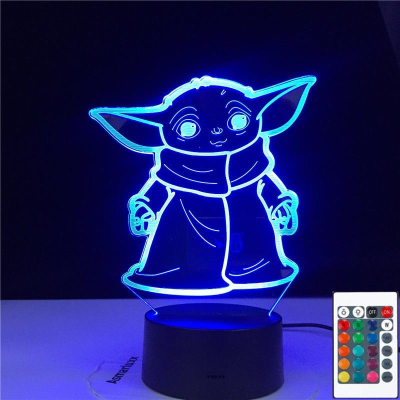 3D-4847 3d Led Night Light Baby Yoda Meme Figure Nightlight for Kids Child Bedroom Decor Table Lamp Baby Night Light Mini Yoda