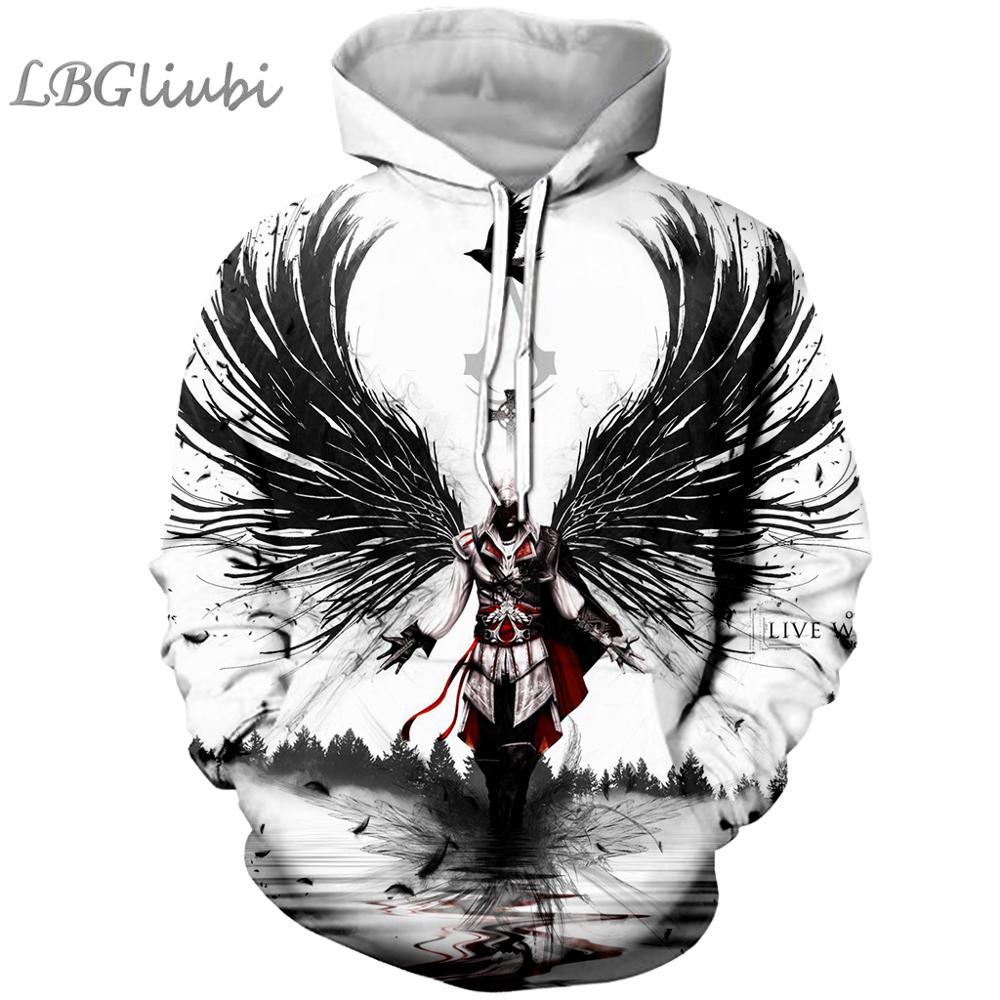 LBG nueva 3D impresión assassin creed hoodie Assassin creed moda hombres y mujeres hoodie Harajuku Sudadera con capucha cool hoodie