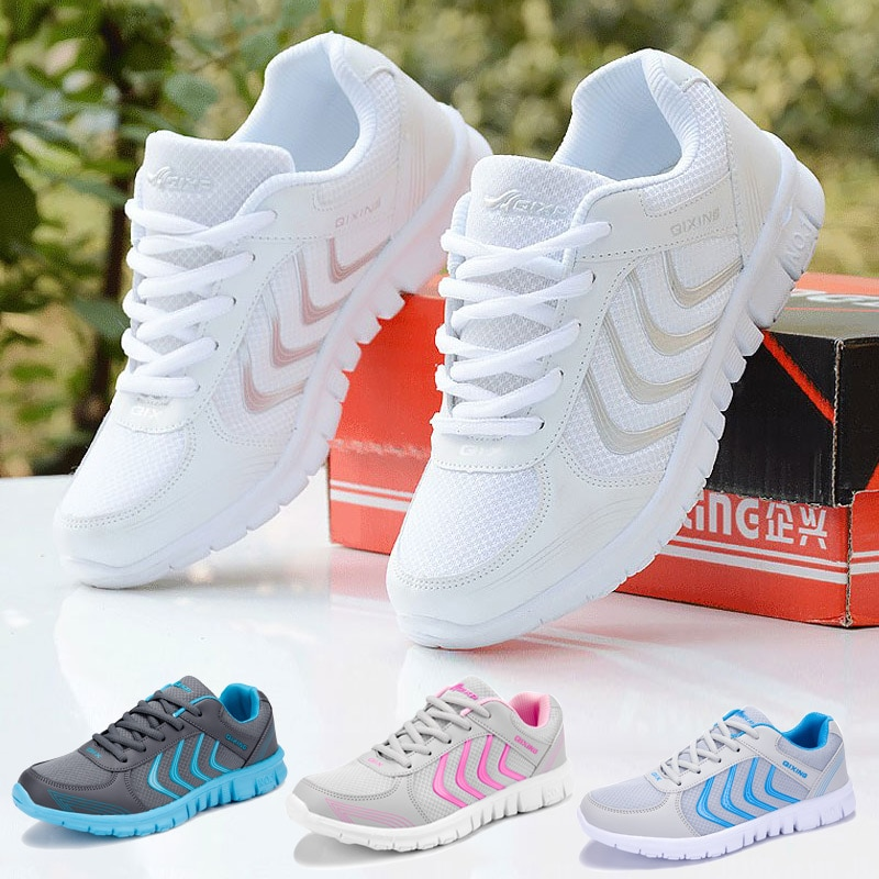 Sneakers women running shoes 2021 fashion solid breathable mesh casual shoes woman lace-up unisex sp