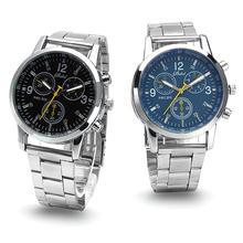 Fashion Men Watch Round Sub-dials Decor Alloy Band Analog Quartz Wrist Watch reloj hombre Gift ча�