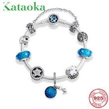 Superieure Kwaliteit 925 Zilveren Armbanden Voor Meisjes Klassieke Blauwe Bedels Kralen Elegante Oceaan Geheim Vrouwen Snake Chain Sieraden Gift