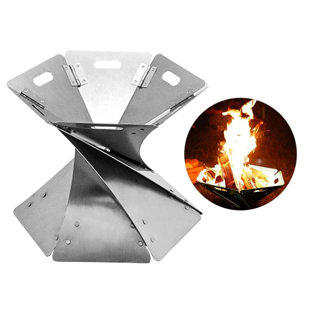 Chimenea ligera portátil de fogón plegable al aire libre para acampar, senderismo, patio trasero, cubierta de fogón + póker + Parrilla de barbacoa