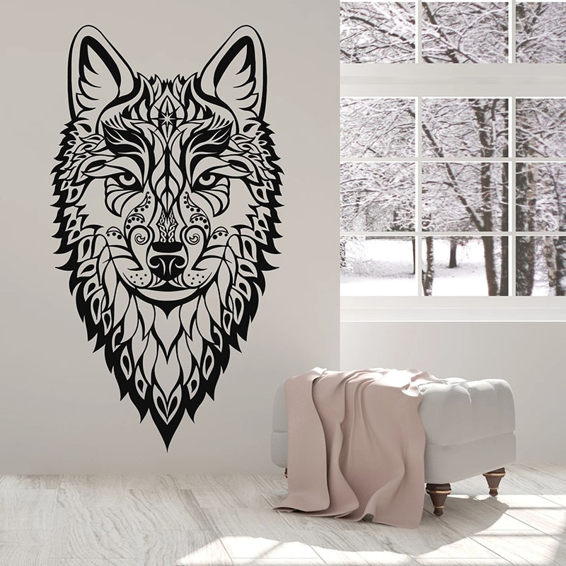 Autocollant mural tête de loup Style ethnique   Autocollant de Style Animal sauvage, décoration de chambre à coucher homme, grotte, maison, porte fenêtre, vinyle, autocollant papier peint dart Q447