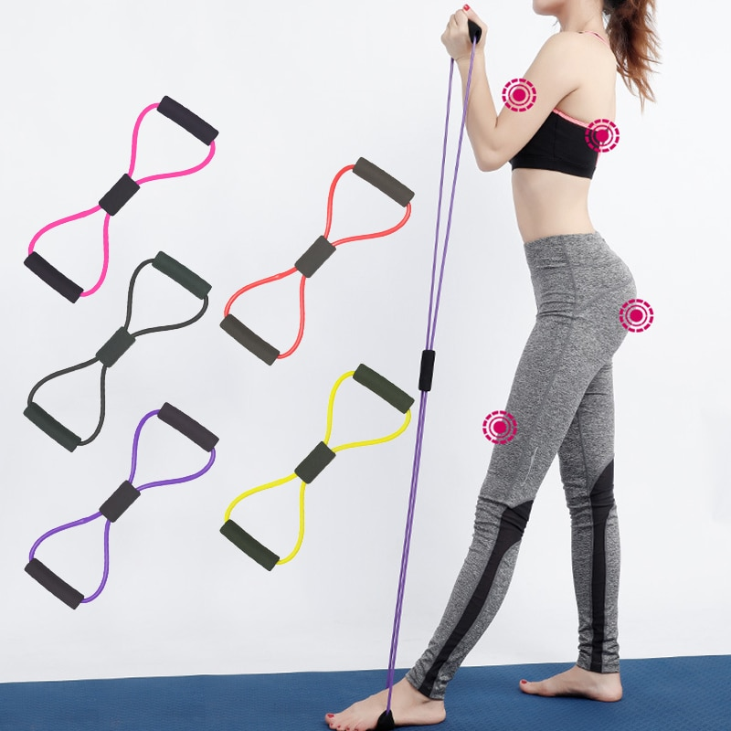 triceps training device push pull down rope muscle pull exercise workout equipment training bodybuilding fitness rope a2l5 Yoga Resistance Exercise Bands Gym Fitness Equipment Pull Rope 8 Word Chest Expander Elastic Muscle Training Tubing Tension Rope