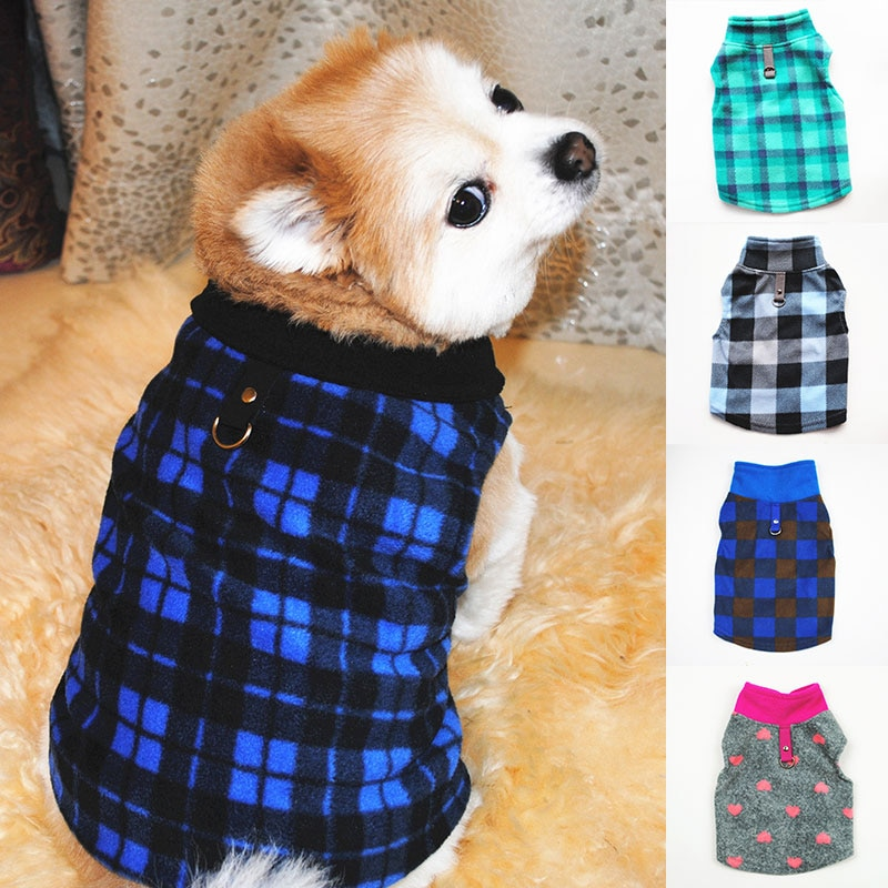 Warm Winter Dog Clothes Sleeveless Fleece Vest For Small Dog Check Puppy Clothing Soft Plaid Dog Costume Outfits Cat Pet Jacket