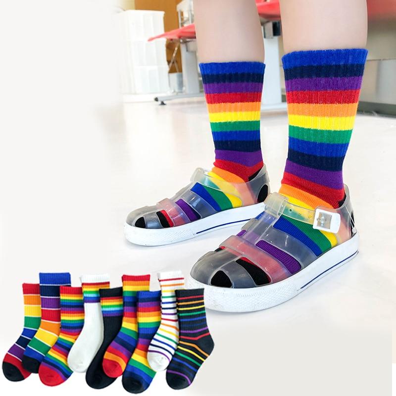 Kids Knee High Rainbow Socks Spring Summer Toddler Child Girls Boys Cotton White School Socks Stripe Long Sock Baby Accessories