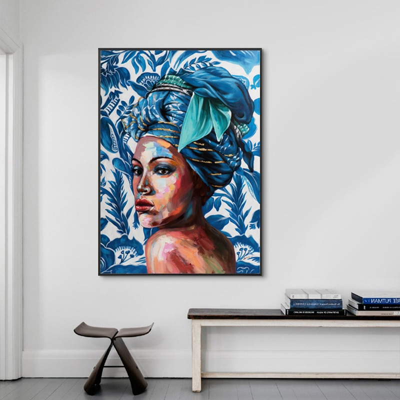 Abstract African Women Wall Art Canvas Paintings Black Posters and Prints Vintage Pictures for Living Room Decor
