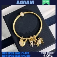 s925 sterling silver classic ocean crab shell golden yellow bracelet womens summer fashion personality starfish luxury jewelry