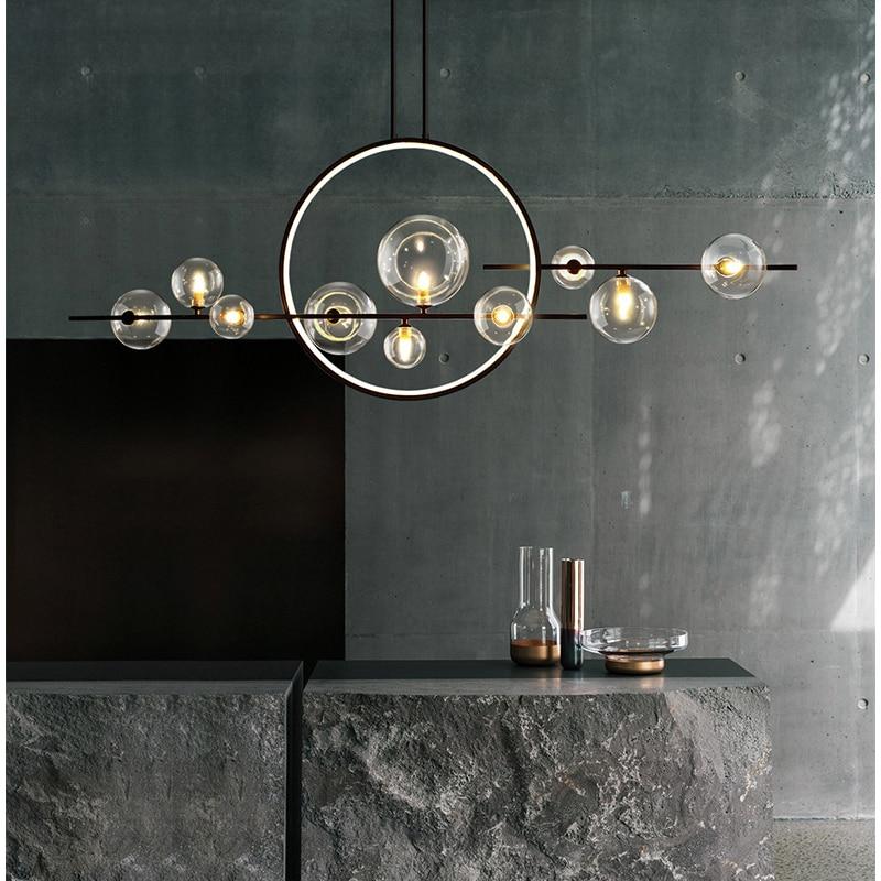 التصميم الحديث الثريا كرة زجاجية طويلة LED المعيشة غرفة الطعام المطبخ بار السقف ديكور المنزل الإضاءة الداخلية مصباح أسود