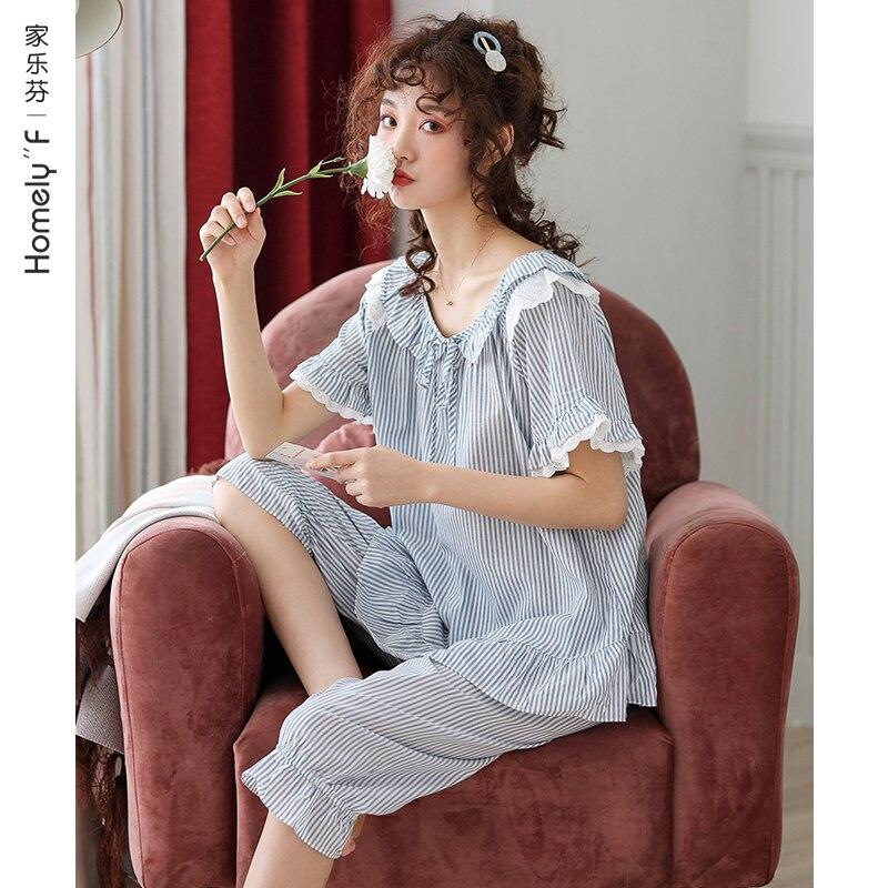 منامة المرأة الصيف القطن قصير الأكمام اقتصاص السراويل المنزل ارتداء الصيف رقيقة اليابانية نمط اليابانية لطيف الحلو مجموعة