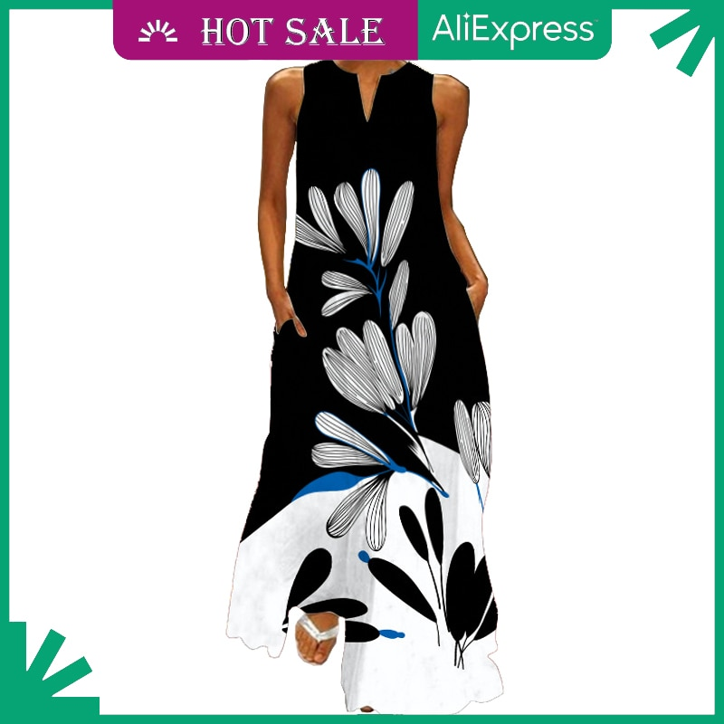 MOVOKAKA Fashion Dress 2021 Sundress Maxi Dresses Summer Beach Casual Plus Size Sleeveles Long Dress