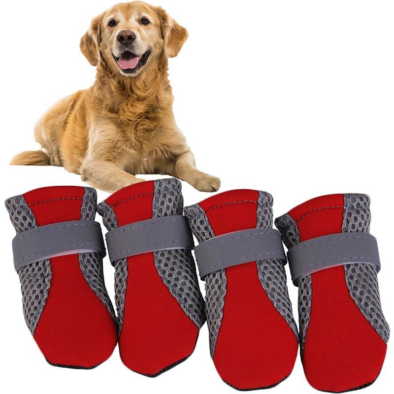 Zapatos cómodos y transpirables para perros, botas antideslizantes para mascotas, protectores de patas, cintas reflectantes, lindos zapatos de red transpirables para perros