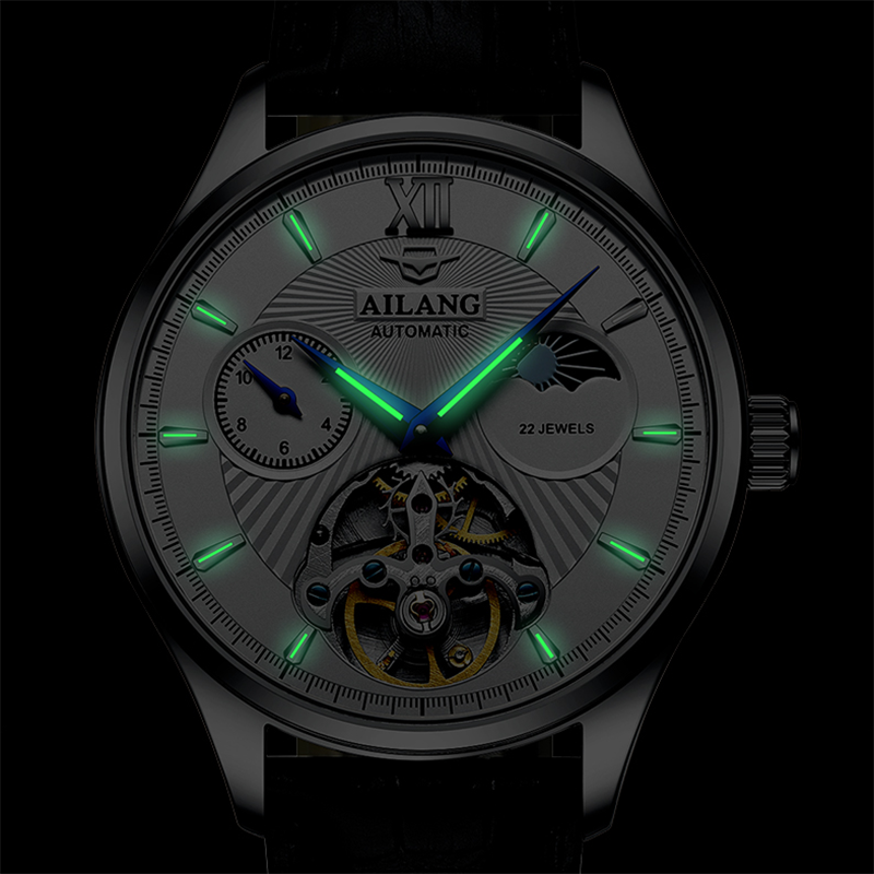 2021 Ailang new watch men's mechanical watch automatic black technology luminous new simple business trendy men's watch enlarge