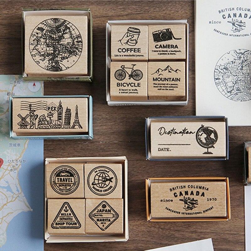 Sello de etiqueta Vintage de viaje, sello de mapa antiguo para viaje, sellos de goma madera DIY para scrapbooking, papelería, sello estándar de scrapbooking