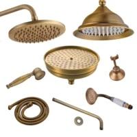 antique brass shower head 8inch round rainfall shower head shower arm water saving hand held shower head spray 1 5 m shower hose