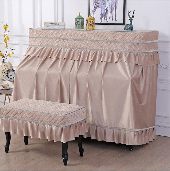 All inclusive piano cover in high quality polyester fleece. Dust cover pleated lace piano stool cover non slip 4 colors. enlarge