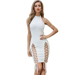 Sexy Club Party Dress Women 2020 Summer Satin Bandage Ruched Bodycon White Dresses Elegant Backless