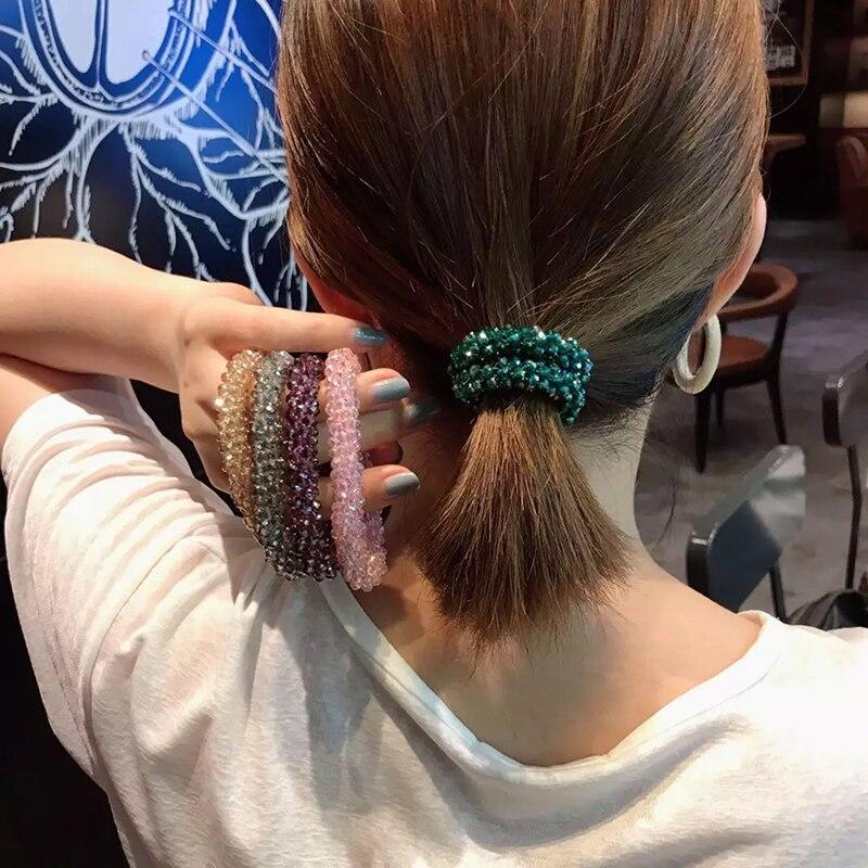 Kristall Perlen Hohe Elastische Haar Bands für Frauen Glitter Haarband Blume Bögen für Mädchen Pferdeschwanz-halter Haar Zubehör