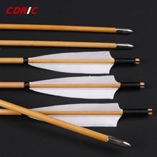 6/12/24 pièces flèches en bois naturelles faites à la main 32 pouces avec plume de dinde blanche et flèche de fer pour tir à larc 20-60lbs