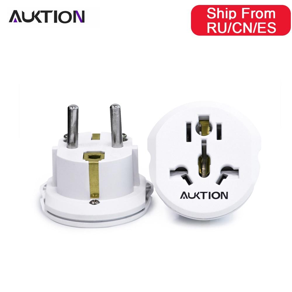 Auktion 5 pçs/lote 16a universal ue (europa) conversor adaptador 250 v ac carregador de viagem tomada de parede com adaptador de casa