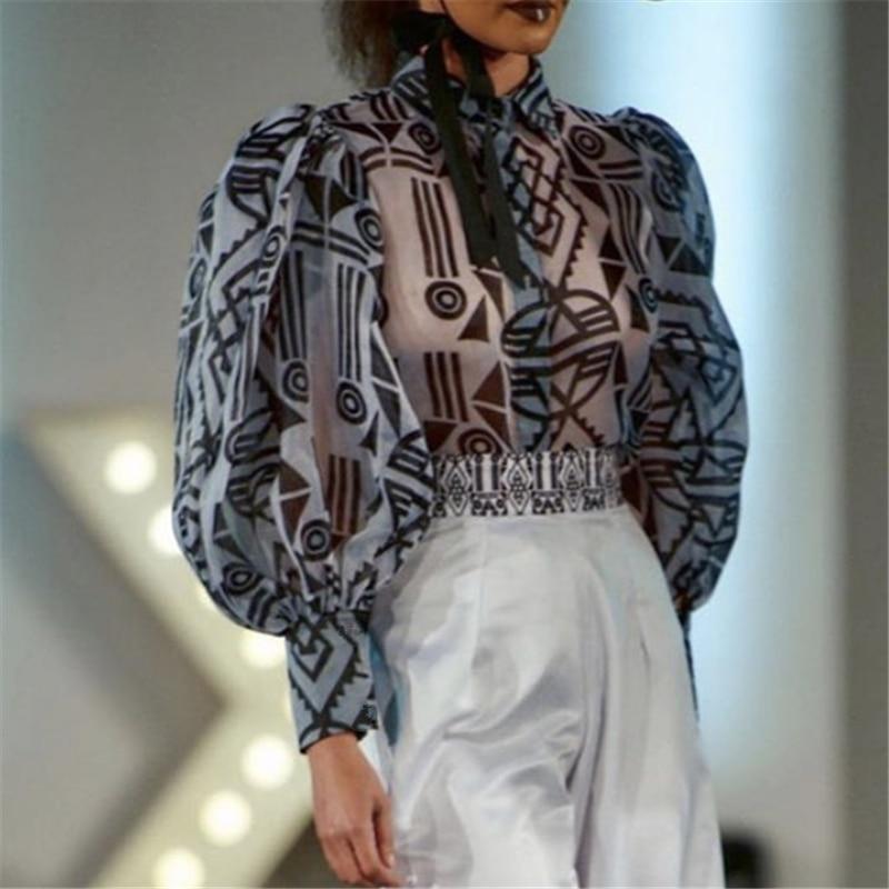 Blusa de chifón transparente estampada sexi, camisetas con transparencias, Puff Bluas, mangas largas, para mujer, elegante, para oficina
