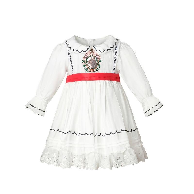Bébé fille automne printemps été blanc à manches longues pâques broderie turquie Vintage Lolita robe de bal princesse robe de fête danniversaire