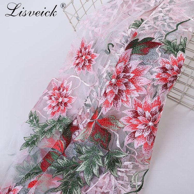 1meter 135cm white black mesh embroidered lotus lace fabric diy wedding dress gauze fabric