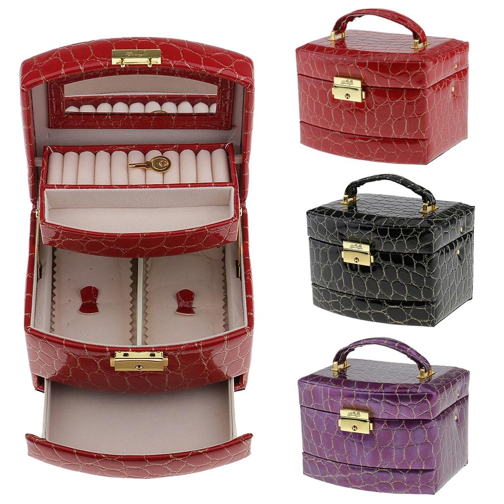 Caja de joyería Retro anillo bloqueable pendientes caja de joyería imitación de cuero espejado organizador de almacenamiento superior