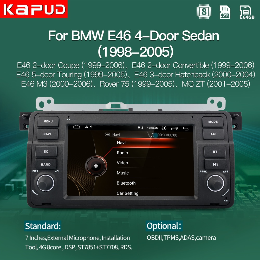 kapud android 10.0 AutoRadio Car Player Stereo For BMW 3 Series E46 Multimedia M3 318/320/325/330/335 1998-2005 GPS Navigation