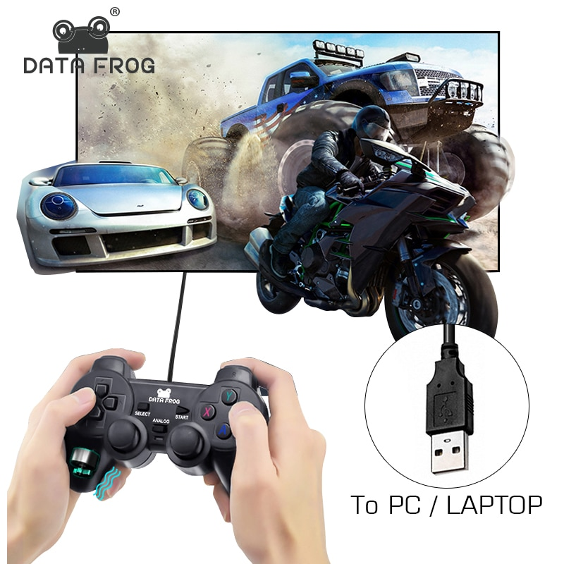 Data Frog Wired USB Joystick for PC Controller Vibration Gamepad for WinXP/Vista/Win7/Win8/Win10 Computer/Laptop Control