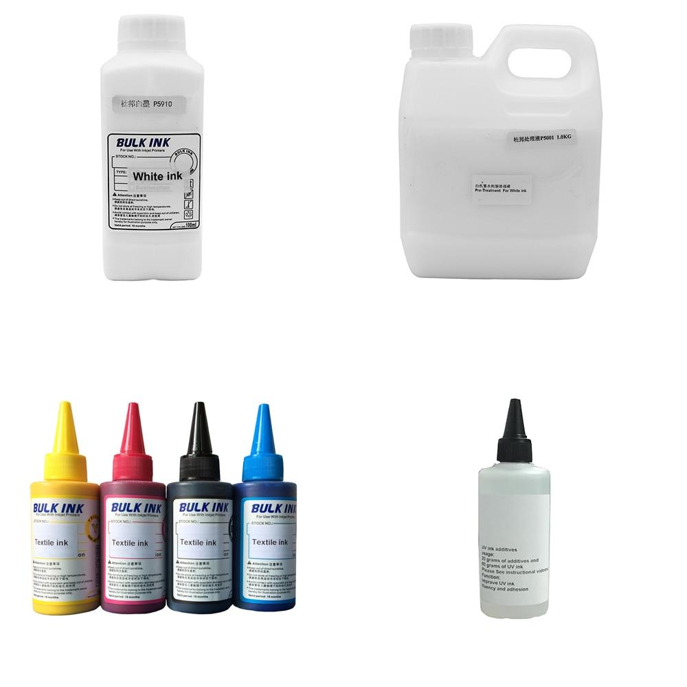 حبر النسيج (C M Y K) ، حبر النسيج الأبيض ، سائل التنظيف ، عامل تثبيت النسيج بالحبر الأبيض ، طابعة مسطحة للقمصان